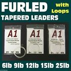 3 FURLED TAPERED FLY FISHING LEADERS - All SIZES 6 9 12 15 25lb for rod & reel