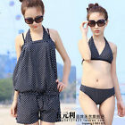 3 Piece Women Swimsuit Swimwear Beach Cover up Romper Shirt + Bikini Top Bottom