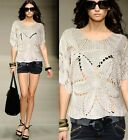 Sexy Ladies Short Sleeves Hand Made Knitting Short Sleeves Top Sweater 6-12 907