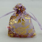 Gold Rose Purple Organza Wedding Favour Gift Bags Pouches 7x9,9x12,13x17cm