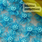 Lake Blue Hard Orange Flower With Beads Sewing Scrapbooking Appliques Trims JMOG