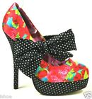 IRON FIST INDECENT OBSESSION PLATFORM STRAWBERRY POLKA DOT BOW SHOES SIZE 3-9