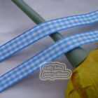 50 Yds/Roll Light Blue Gingham Scotish Ribbons 6mm,10mm,15mm,18mm,24mm E1-7