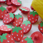 Red Strawberry Wood Buttons 17mm Sewing Craft Scrapbooking CWB003