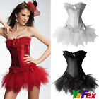 Cabaret SEXY Satin Burlesque Corset & Tutu Petticoat Skirt Fancy Dress Costume