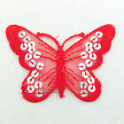 Red Butterfly Paillette Sequin Iron On Patch 7cm M0034