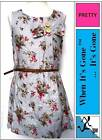 Girls Floral Print Dress with Bow Belt  Cotton/Linen Mix  Multi size 3-14 Years