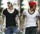 Mens Base Plain Slim Fit V-Neck T-shirt E202 Black White Gray M L XL Hot Sell