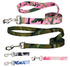 Camo Camouflage Dog Leash Lead Pet 4 foot 6 foot Blue Pink  Green Leads Leashes
