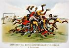 FOOTBALL MATCH DARKTOWN VS BLACKVILLE REPRODUCTION ART PRINT A1 A2 A3 A4