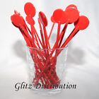 "7"" RED COCKTAIL STIRRERS SWIZZLE STICKS PACK 10, 25, 50, 100, 250, 500"