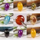 Wholesale Agate Jasper Gemstone Rondelle Big Hole Charm European Beads Findings
