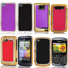 Luxury Leather Back Sparkling Diamond Chrome Stylish Case Cover For Mobile Phone