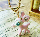 Fashion Blue rhinestone crystal gold plated pink deer animal pendant necklace