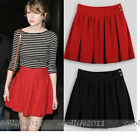 Above knee skirt Fashion women girl Vintage Ruffle Pleated Skirt black red color