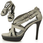 New Womens Elegant Sexy High Heels Strappy Sandals Shoes Grey