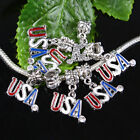 Colorful Enamel USA Loose Charms European Dangle Bead Finding Fit Bracelet Chain