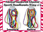 "Lot of (6) 3/8"" Elastic Animal Print Sport Headband With Matching Pony o's"