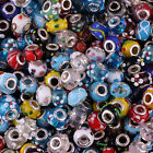 Wholesale Large Hole Multicolor Dot Lampwork Glass Rondelle Charm European Bead