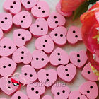 Pink Heart 11mm Wood Buttons Sewing Scrapbooking Cardmaking Craft NCB047-6