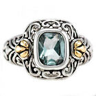 Sterling Silver 2.25 Ct Emerald Cut Sky Blue Topaz Two Tone Women's Wedding Ring