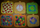 APPLIQUE QUILTED POTHOLDERS 6 DESIGNS * Sun, Butterflies Frogs Peace/Love Flower