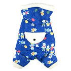 638 L~4L Blue Bear Pattern Hooded Overall Jumpsuit Bodysuit /Dog Clothes