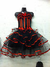 Burlesque / Halloween Red Corset & Long Skirt Fancy Dress Outfit / Costume