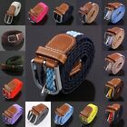 Womens Mens Casual PU Leather Stretch Elastic Weave Belt Buckle Girdle Waistband