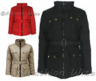 Girls Padded Jacket Coat Quilted Belted Jacket Red Winter Age 7 8 9 10 11 12 13