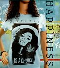 Tee Shirt Femme Hell Head  Happiness is a Choice BLEU, Mode, Vintage, cannabis