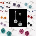 Crystal Rhinestone 10mm Round Ball Bead 925 Sterling Silver Dangle Drop Earrings