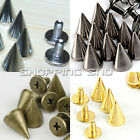 RUBYCA Cone Spikes Metal Studs Screw-back 9mm 10mm 13mm 14mm Gold Silver Black