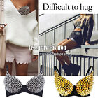 br1 Celebrity Style Gothic All Over Studded Push Up Spike Metallic Bra Top