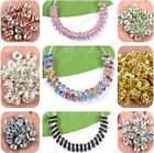 Lots 100pcs Acrylic Crystal Silver Plated Spacer Loose Charms Beads Findings 8MM image