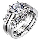 Sterling Silver Round Cubic Zirconia Three Rings Set Clear Sparkle-Jewelry