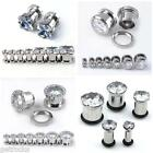 3-12mm Stainless Steel Cubic Zirconia Plug Ear Expander Flesh Tunnel Barbell New