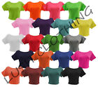 85A-GIRLS / WOMENS PLAIN STRETCH CROP CROPPED TOP / T-SHIRT-SIZE 8,10,12,14-NEW