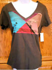 ROXY~ LETS GO SURFING WAVES SMOKE SIGNAL GRAY V-NECK TEE T-SHIRT TOP NEW A