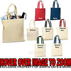 BLANK Canvas Sturdy TOTE BAG Crafts Shopping 5 COLORS Durable 100% Reinforced