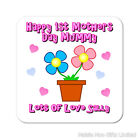 Personalised Happy 1st First Mothers Day Mum Wooden Coaster Mat Gift Pink Blue