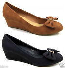 WOMENS LEATHER LOOK OFFICE MID HEEL WEDGE COURT SHOES LARGE SIZES UK 8 9 10 11