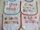 Terry Bib with velcro fastening and waterproof back 4 cute slogans to choose NEW