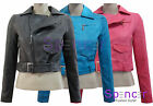NEW LADIES QUILTED BOMBER PVC FAUX LEATHER CROPPED BIKER JACKET WOMENS COAT 8-14