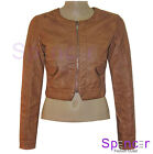 NEW LADIES QUILTED CROPPED BOMBER PVC FAUX LEATHER JACKET COAT WOMENS BIKER 8-14