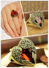 Happy Angel Wings Red Peach Heart Gem Ring Restoring Ancient Ways Ring N749