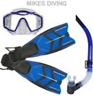 TYPHOON TM1 Diving Mask Snorkel fin flipper SET HYDROSPLIT BLUE