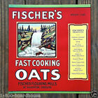 2 Vintage Original FISCHER'S FAST COOKING OATS BREAKFAST Cereal Box Label 1920s