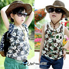 2016 Summer Kids Toddlers Boys Child Skull Print Sleeveless Vest T-shirt 2-7Y