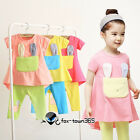 Summer Kids Toddlers Baby Girl Child Candy Rabbit Ear T-Shirt+Leggings Sets 2-7Y
